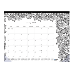 """Blueline® DoodlePlan™ Coloring Monthly Desk Pad Calendar, 22"""" x 17'', Different Design To Color Each Month, January to December 2020"""