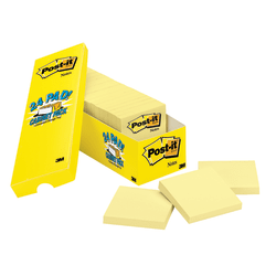 """Post-it® Notes, 3"""" x 3"""", Canary Yellow, Pack Of 24 Pads"""