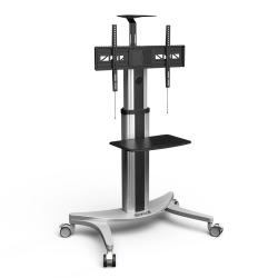 "Loctek P2 2-Shelf Height-Adjustable Aluminum TV Cart, 59""H x 32-1/2""W x 13""D, Silver"