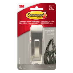 3M™ Command™ Damage-Free Hook, Modern Reflections, Metal, Large, Brushed Nickel