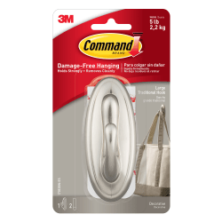 3M™ Command™ Damage-Free Hook, Large, Brushed Nickel