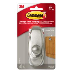 3M™ Command™ Damage-Free Hook, Timeless, Large, Brushed Nickel