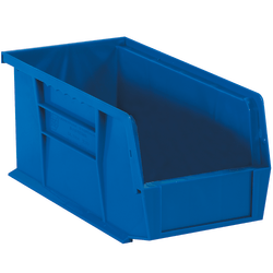 "Office Depot® Brand Plastic Stack And Hang Bin Boxes, 14 3/4"" x 8 1/4"" x 7"", Blue, Pack Of 12"