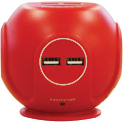 Accell Power Cutie - Compact surge protector with 3 540J surge protected AC outlets and 4 USB-A charging ports, 6ft cord, red - 3 x AC Power, 4 x USB - 1800 VA - 540 J - 120 V AC Input
