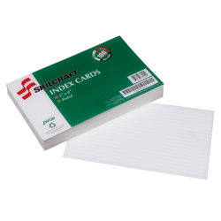 """30% Recycled Index Cards, 5"""" x 8"""", Ruled, Pack Of 100 (AbilityOne 7530-00-243-9437)"""