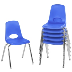 """Factory Direct Partners 16"""" Stacking Chairs With Swivel Glides, Blue, Pack Of 6 Chairs"""