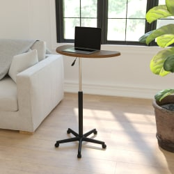 """Flash Furniture Sit To Stand Mobile Laptop Computer Desk, 36-1/2""""H x 25-1/2""""W x 22-1/2""""D, Rustic Walnut"""