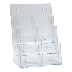"Azar Displays 3-Tier 6-Pocket Plastic Trifold Brochure Holder, 13-1/4""H x 9-1/4""W x 6""D, Clear"