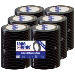 """Tape Logic® Color Masking Tape, 3"""" Core, 0.25"""" x 180', Black, Case Of 144"""