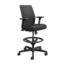 HON® Ignition Seating Mid-Back Task Stool, Black Seat/Black Frame, Quantity: 1