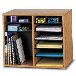 "Safco® Wood Adjustable Organizer, 16 1/8""H x 19 5/8""W x 11 7/8""D, Medium Oak"