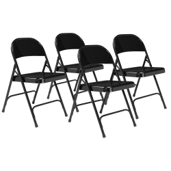 National Public Seating Series 50 Steel Folding Chairs, Black, Set Of 4 Chairs