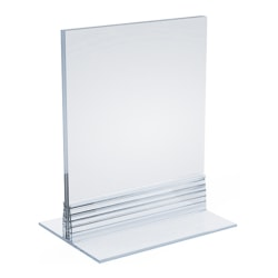 "Azar Displays Acrylic T-Strip Vertical/Horizontal Sign Holders, 5"" x 3-1/2"", Clear, Pack Of 10 Sign Holders"