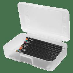 """Advantus Gem Pencil Storage Box, 2 1/2"""" x 8 1/2"""" x 5 1/2"""", Clear"""