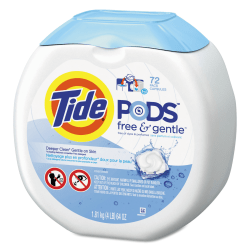 Tide® Free & Gentle™ Laundry Detergent PODS™, Pack Of 72 Pods, Carton Of 4 Packs