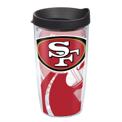 Tervis NFL Tumbler With Lid, 16 Oz, San Francisco 49ers, Clear