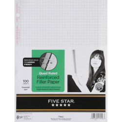 """Five Star® Reinforced Filler Paper, 8 1/2"""" x 11"""", Quadrille Ruled, Pack Of 100 Sheets"""