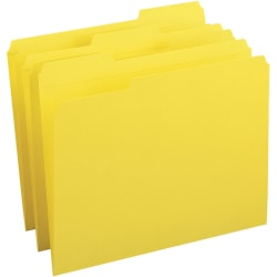 Business Source Reinforced Tab Colored File Folders - Yellow - 100 / Box