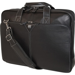 """Mobile Edge 16"""" Deluxe Leather Briefcase - 16"""" Screen Support - 13"""" x 17"""" x 4"""" - Leather - Black"""