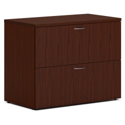 """HON MOD Desk Collection 36""""W Lateral 2-Drawer File Cabinet With Removable Top, Mahogany"""