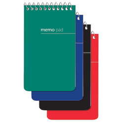 "Office Depot® Brand Wirebound Top-Opening Memo Books, 3"" x 5"", 1 Hole-Punched, College Ruled, 60 Sheets, Assorted Colors (No Color Choice), Pack Of 3"