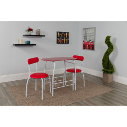 "Flash Furniture Space-Saver Glass Top Bistro Set With 2 Chairs, 29-1/2""H x 19-3/4""W x 35-1/2""D, Red"
