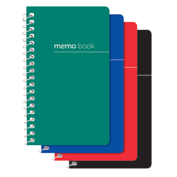 """Office Depot® Brand Wirebound Side-Opening Memo Books, 3"""" x 5"""", College Ruled, 60 Sheets, Assorted Colors (No Color Choice), Pack Of 3"""