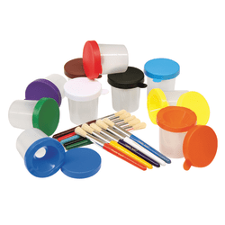 Chenille Kraft Creativity Street No-Spill Paint Cups And Brushes, Assorted Colors/Clear, Set Of 20