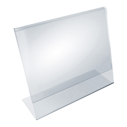 """Azar Displays Acrylic Horizontal L-Shaped Sign Holders, 7""""H x 11""""W x 3""""D, Clear, Pack Of 10 Holders"""