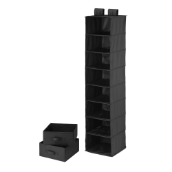 """Honey-Can-Do 8-Shelf Hanging Vertical Closet Organizer With 2-Pack Drawers, 54""""H x 12""""W x 12""""D, Black"""
