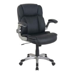 Lorell® SOHO Flip Armrest Bonded Leather Mid-Back Chair, Black/Silver