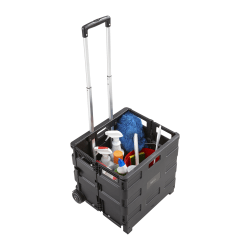 "Safco Stow Away Folding Caddy - Telescopic Handle - 50 lb Capacity - 2 Casters - 16.5"" Width x 14.5"" Depth x 39"" Height - Black, Silver"