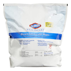 Clorox Healthcare Bleach Germicidal Wipes Refill - Ready-To-Use Wipe - 110 / Bag - 1 Each - White
