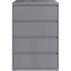 "Lorell® 36""W Lateral 4-Drawer File Cabinet, Metal, Silver"