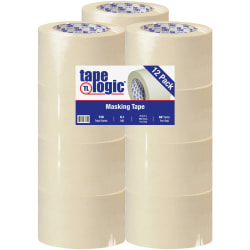 "Tape Logic® 2600 Masking Tape, 3"" Core, 3"" x 180', Natural, Pack Of 12"