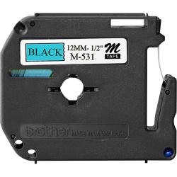 "Brother® M-531 Black-On-Blue Tape, 0.5"" x 26.2'"