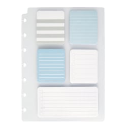 TUL® Discbound Lined Sticky Note Pads, Assorted Colors, 25 Sheets Per Pad, 1 Dashboard of 5 Assorted Pads