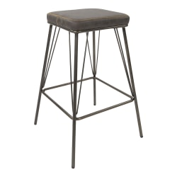 "Ave Six Mayson 26""H Polyester Counter Stools, Charcoal/Gunmetal, Set Of 2 Stools"
