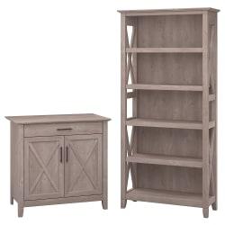 Bush Furniture Key West Laptop Storage Desk Credenza With 5 Shelf Bookcase, Washed Gray, Standard Delivery