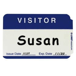 """C-Line Visitor Badges - 3.50"""" Width x 2.25"""" Length - 100 / Box - Rectangle - Paper - White"""""""