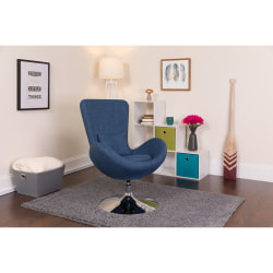 Flash Furniture Egg Side Reception Chair With Bowed Seat, Blue/Chrome