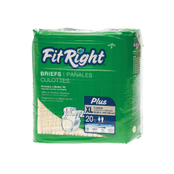 """FitRight Plus Disposable Briefs, X-Large, 59 - 66"""", Yellow, 20 Briefs Per Bag, Case Of 4 Bags"""