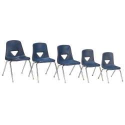 """Scholar Craft™ 120 Series Student Stacking Chairs, Large, 30 1/2""""H x 20""""W x 22 1/2""""D, Navy, Set Of 5"""