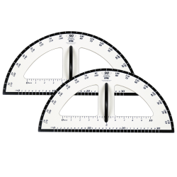 "Learning Advantage Dry-Erase Magnetic Protractors, 19"", White/Black, Set Of 2"