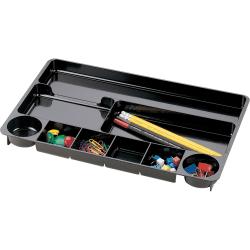 "Officemate® Plastic 9-Compartment Storage Drawer Organizer Tray, 1 1/8"" x 14"" x 9"", Black"