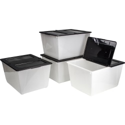 "Storex Storage Totes With Folding Lids, 16 Gallons, 22-3/4"" x 18-1/4"" x 12-7/8"", Frost/Black, Pack Of 4 Totes"