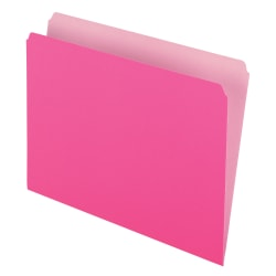 Pendaflex® Straight-Cut Color File Folders, Letter Size, Pink, Box Of 100