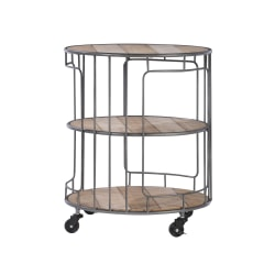 "Linon Anise 3-Tier Wood/Metal Rolling Cart, 23-3/4"" x 19-5/8"", Rustic Wood/Gray"