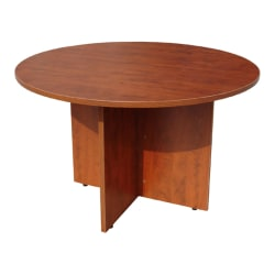 """Boss Office Products 42""""W Round Wood Conference Table, Cherry"""
