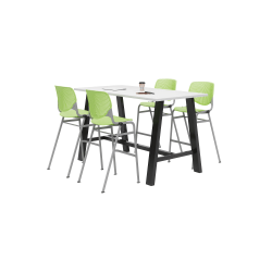 """KFI Midtown Bistro Table With 4 Stacking Chairs, 41""""H x 36""""W x 72""""D, Designer White/Lime Green"""